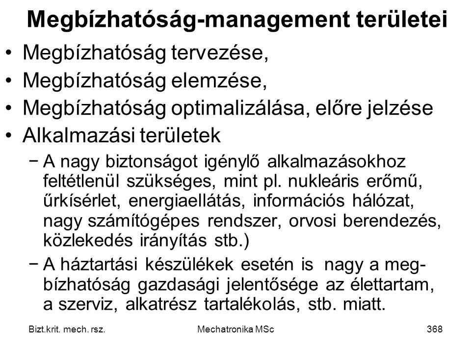 Megbízhatóság-management területei