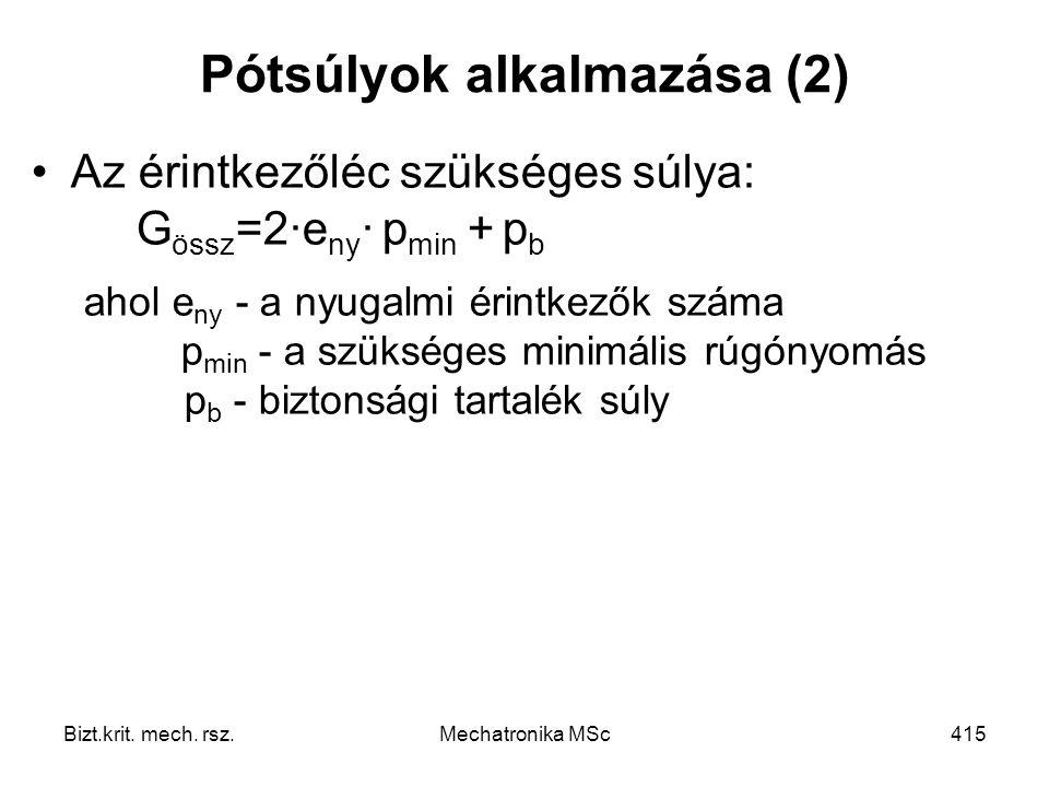 Pótsúlyok alkalmazása (2)