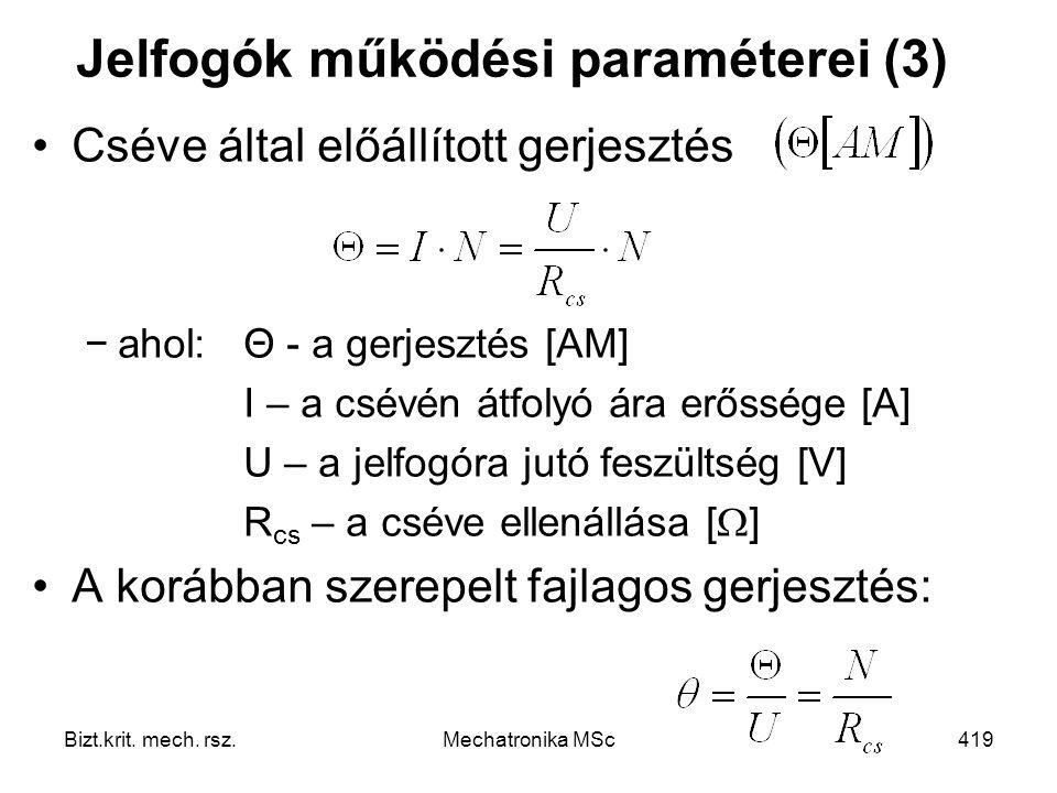 Jelfogók működési paraméterei (3)