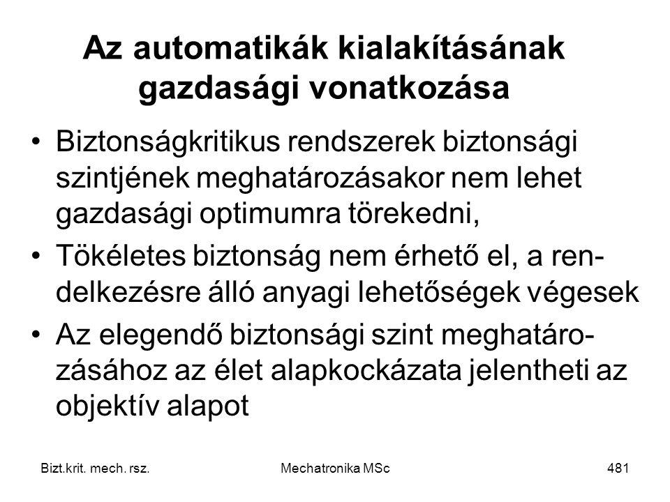 Az automatikák kialakításának gazdasági vonatkozása