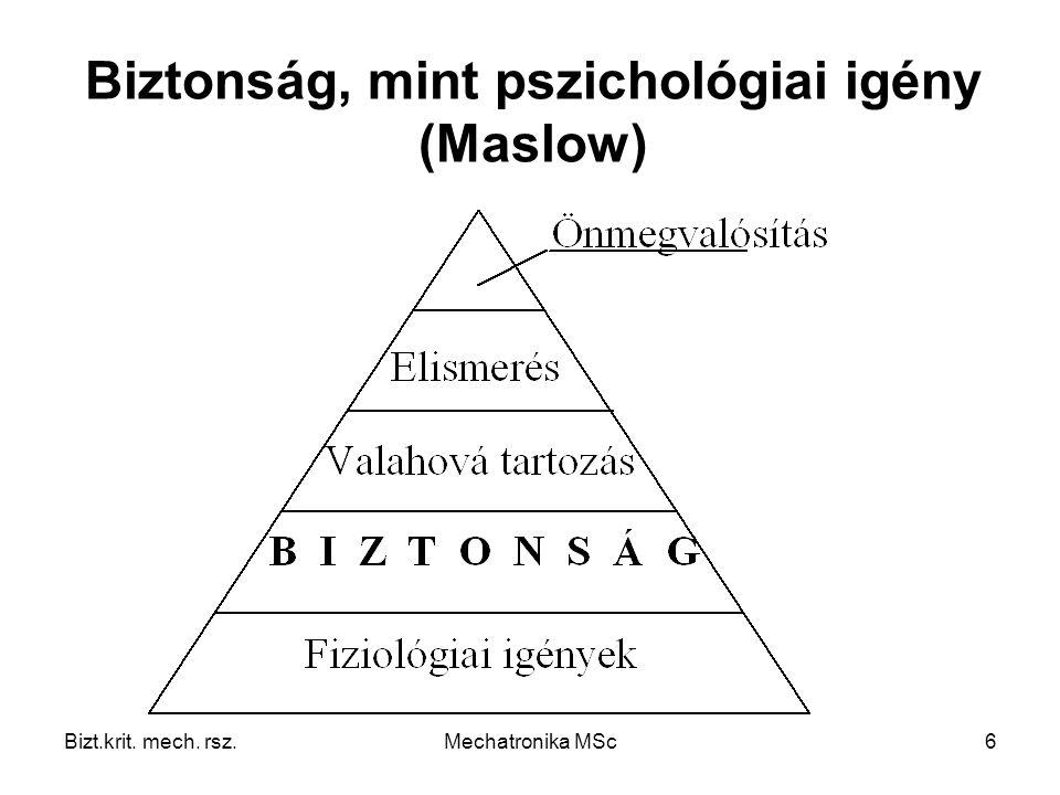Biztonság, mint pszichológiai igény (Maslow)