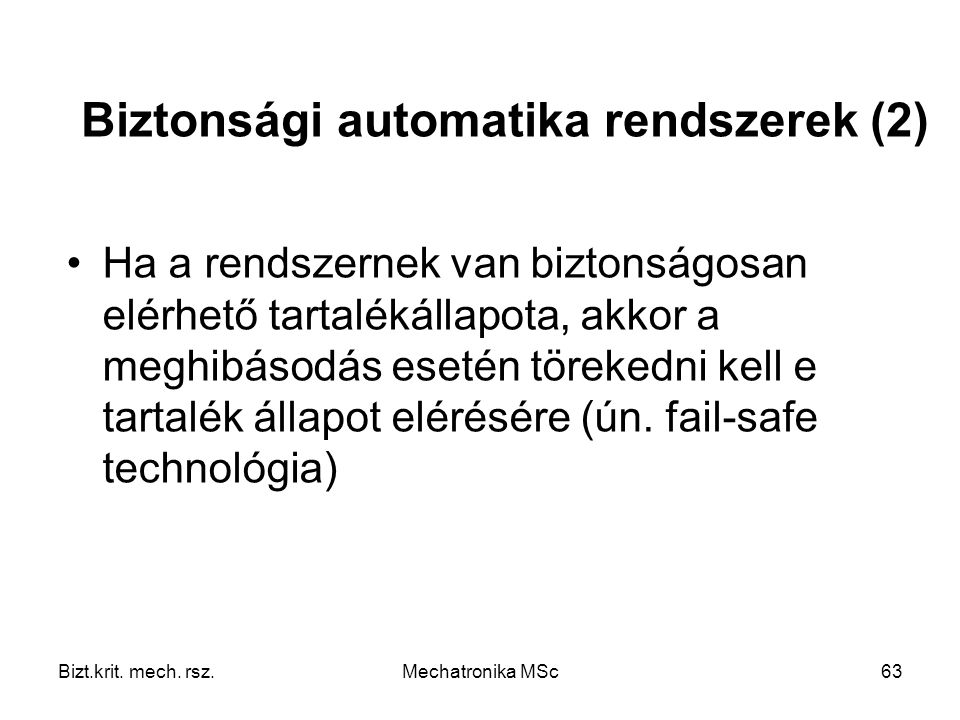 Biztonsági automatika rendszerek (2)