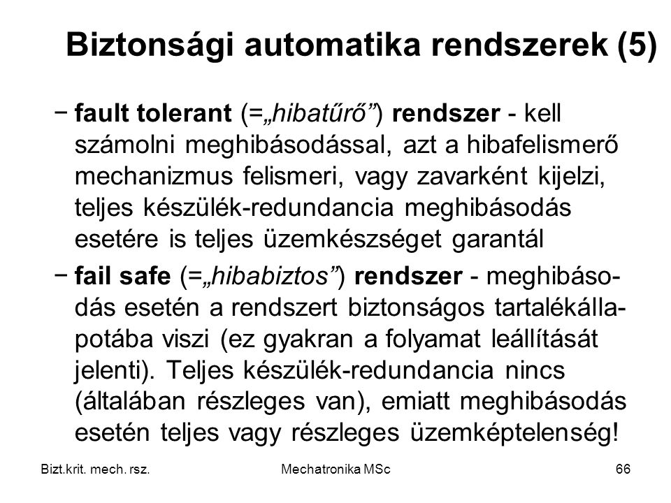Biztonsági automatika rendszerek (5)
