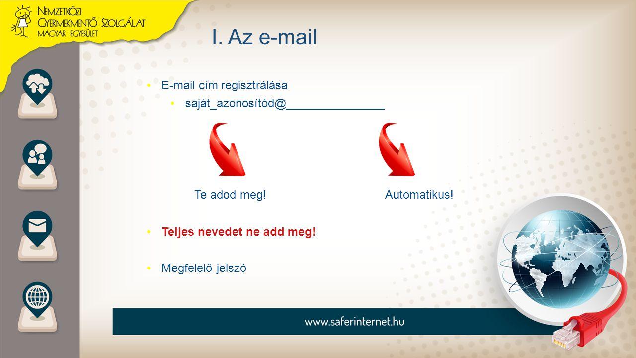 I. Az e-mail E-mail cím regisztrálása saját_azonosítód@_______________