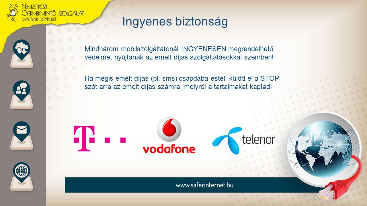 Ingyenes biztonság Mindhárom mobilszolgáltatónál INGYENESEN megrendelhető védelmet nyújtanak az emelt díjas szolgáltatásokkal szemben!