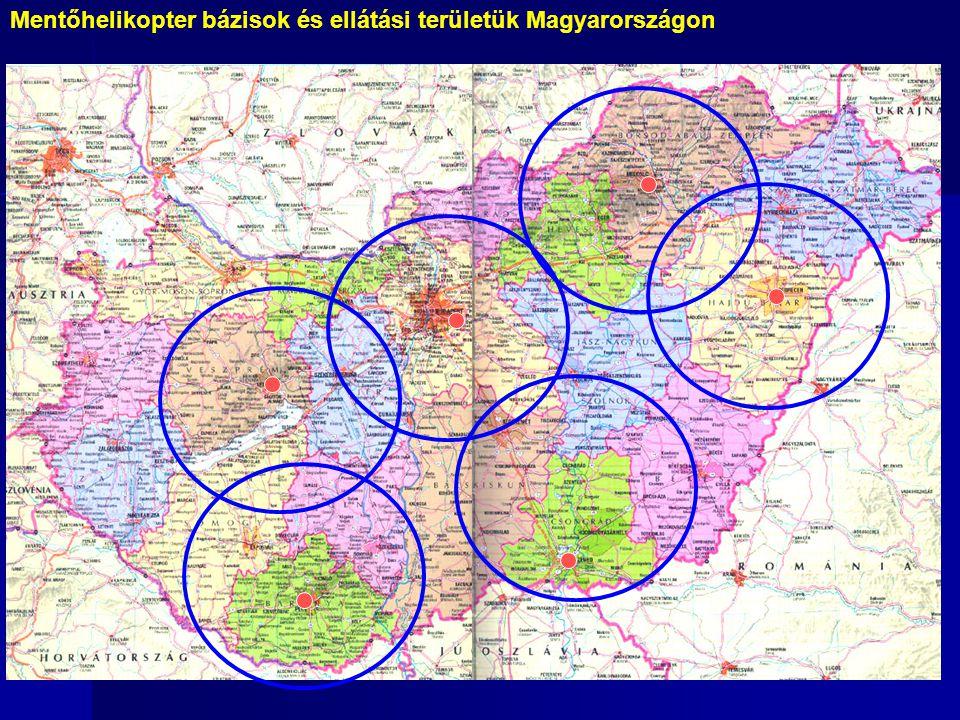 Mentőhelikopter bázisok és ellátási területük Magyarországon