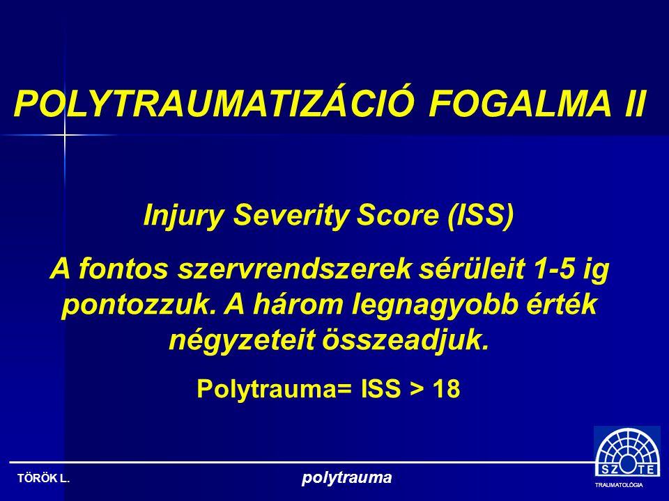 POLYTRAUMATIZÁCIÓ FOGALMA II Injury Severity Score (ISS)