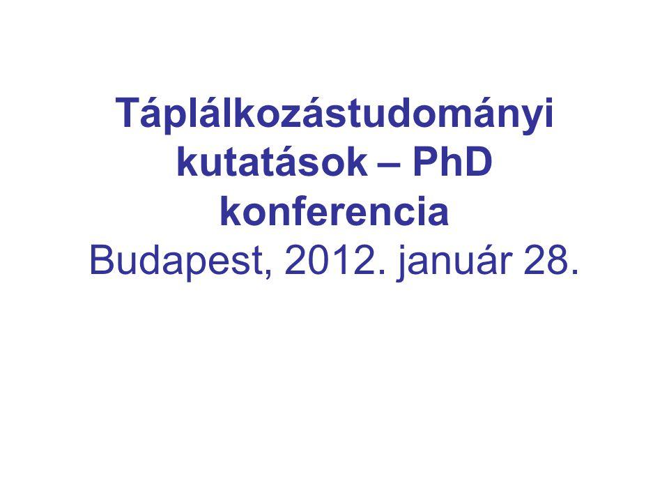 Táplálkozástudományi kutatások – PhD konferencia Budapest, 2012