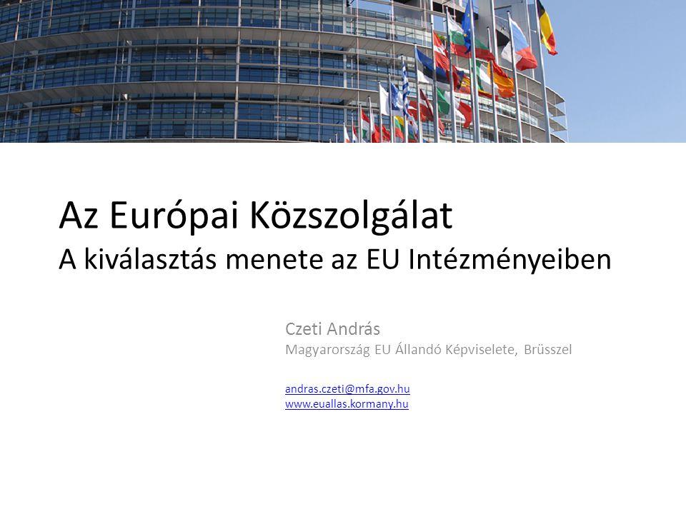 Az Európai Közszolgálat A kiválasztás menete az EU Intézményeiben