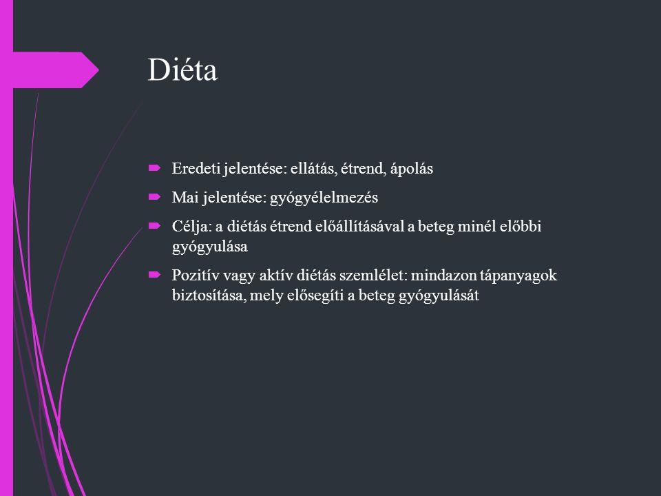 Diéta Eredeti jelentése: ellátás, étrend, ápolás