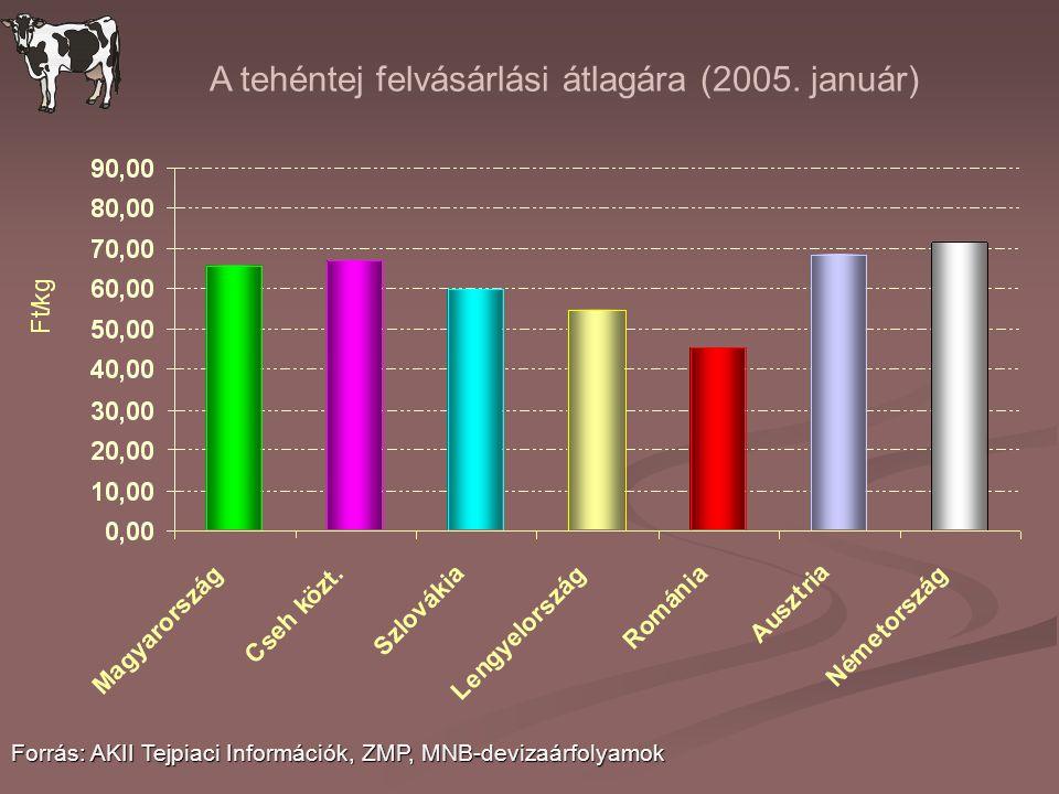 A tehéntej felvásárlási átlagára (2005. január)