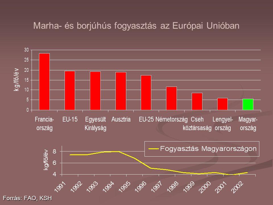 Marha- és borjúhús fogyasztás az Európai Unióban