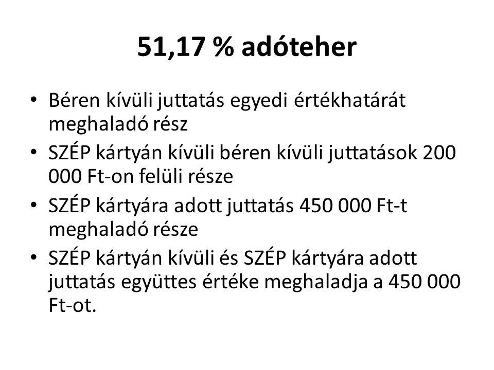 51,17 % adóteher Béren kívüli juttatás egyedi értékhatárát meghaladó rész. SZÉP kártyán kívüli béren kívüli juttatások 200 000 Ft-on felüli része.