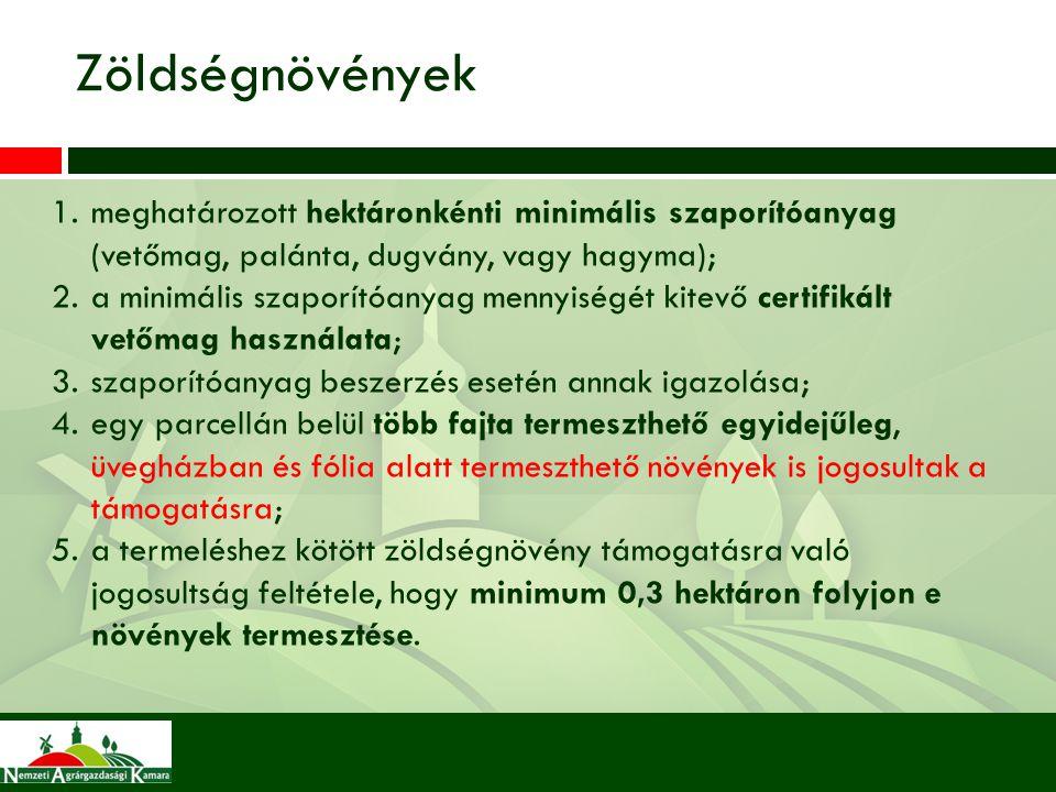 Zöldségnövények meghatározott hektáronkénti minimális szaporítóanyag (vetőmag, palánta, dugvány, vagy hagyma);