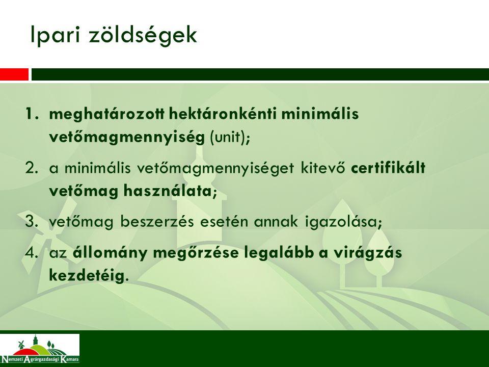 Ipari zöldségek meghatározott hektáronkénti minimális vetőmagmennyiség (unit);