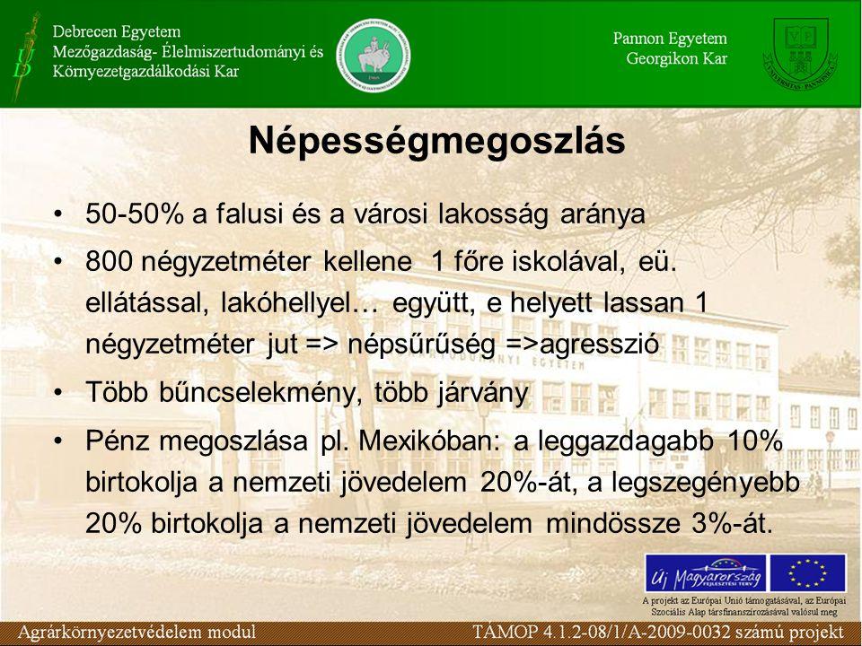 Népességmegoszlás 50-50% a falusi és a városi lakosság aránya