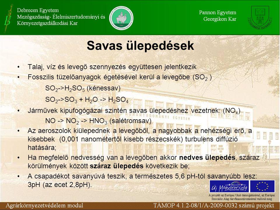 Savas ülepedések Talaj, víz és levegő szennyezés együttesen jelentkezik. Fosszilis tüzelőanyagok égetésével kerül a levegőbe (SO2 )