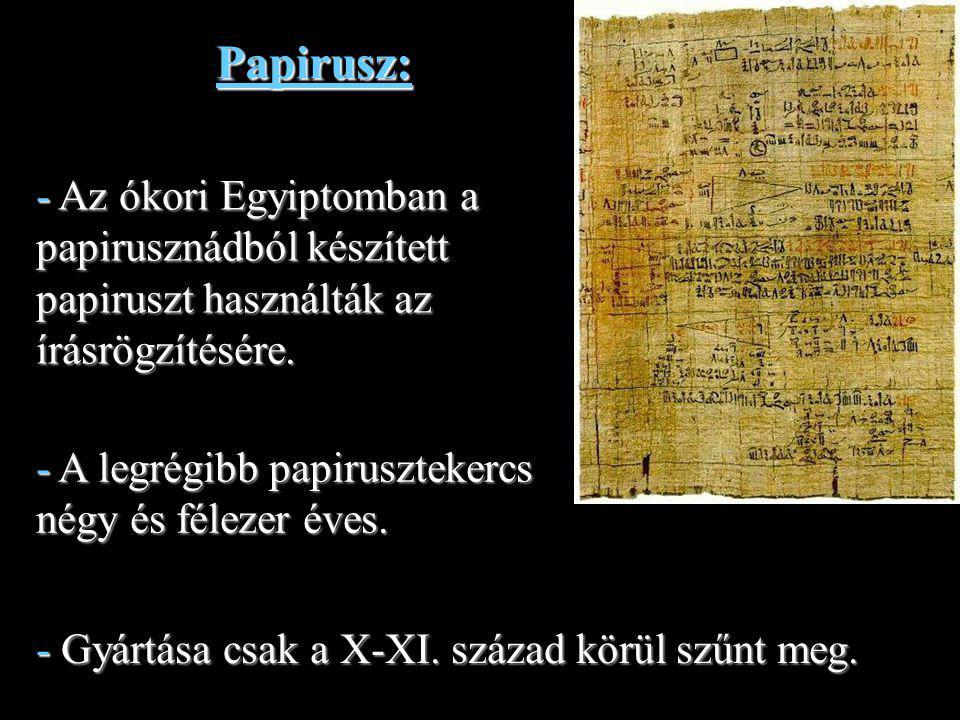 Papirusz: - Az ókori Egyiptomban a papirusznádból készített papiruszt használták az írásrögzítésére.