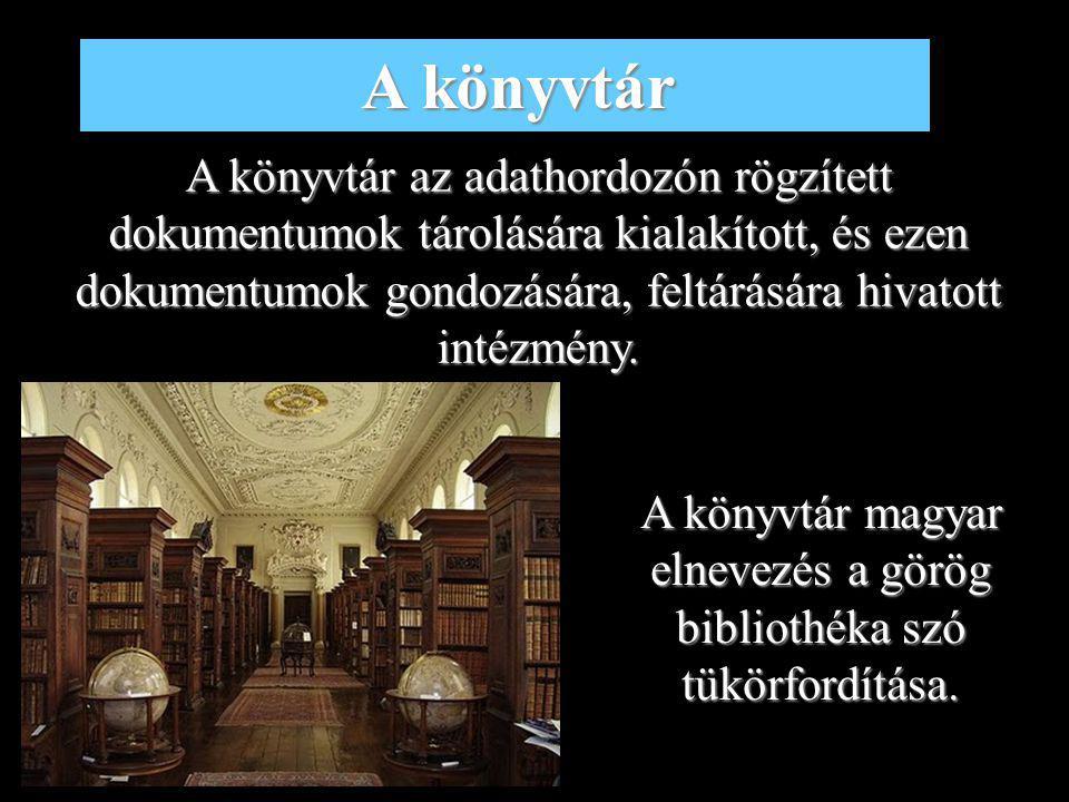 A könyvtár magyar elnevezés a görög bibliothéka szó tükörfordítása.
