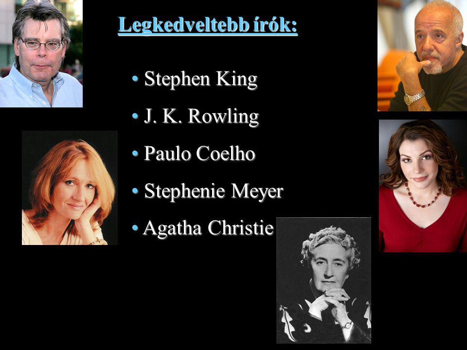 Legkedveltebb írók: Stephen King J. K. Rowling Paulo Coelho Stephenie Meyer Agatha Christie