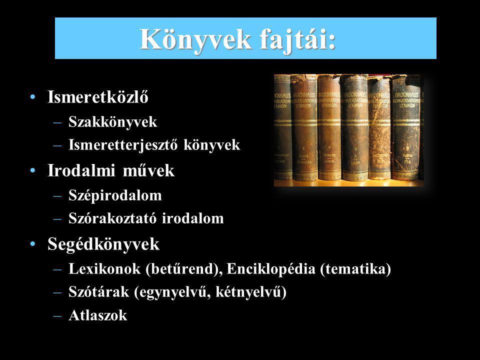 Könyvek fajtái: Ismeretközlő Irodalmi művek Segédkönyvek Szakkönyvek