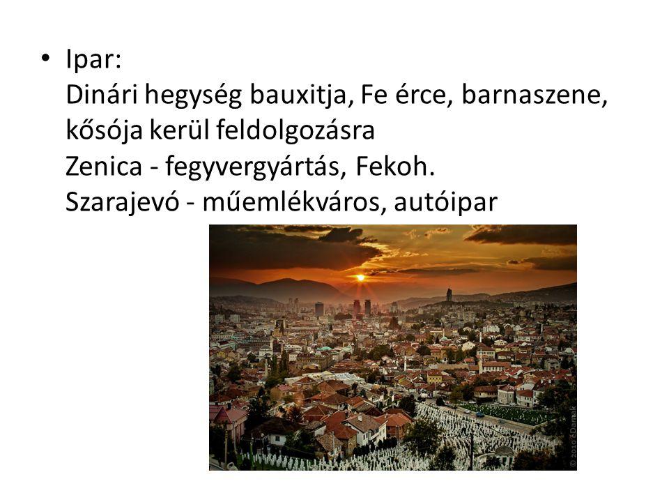 Ipar: Dinári hegység bauxitja, Fe érce, barnaszene, kősója kerül feldolgozásra Zenica - fegyvergyártás, Fekoh.