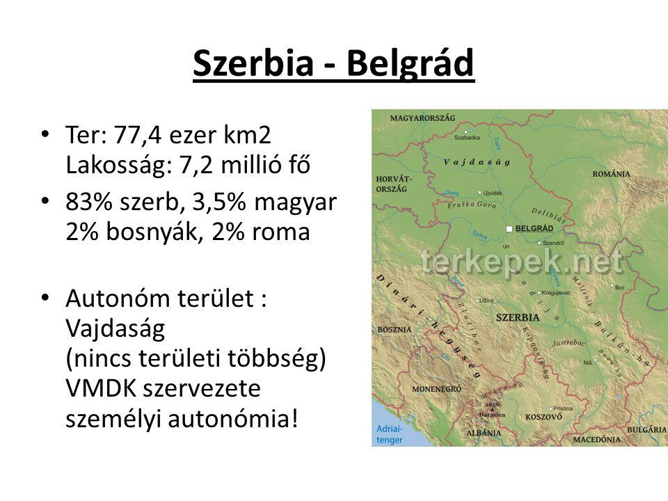 Szerbia - Belgrád Ter: 77,4 ezer km2 Lakosság: 7,2 millió fő