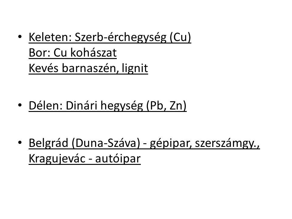 Keleten: Szerb-érchegység (Cu) Bor: Cu kohászat Kevés barnaszén, lignit