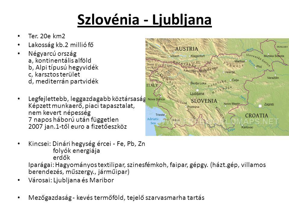 Szlovénia - Ljubljana Ter. 20e km2 Lakosság kb.2 millió fő