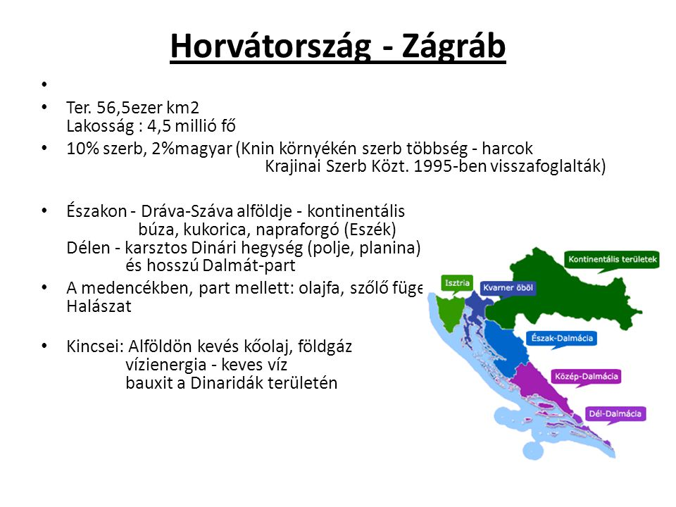 Horvátország - Zágráb Ter. 56,5ezer km2 Lakosság : 4,5 millió fő