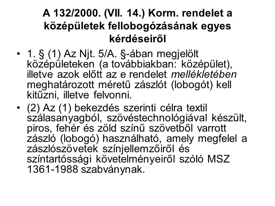 A 132/2000. (VII. 14.) Korm. rendelet a középületek fellobogózásának egyes kérdéseiről