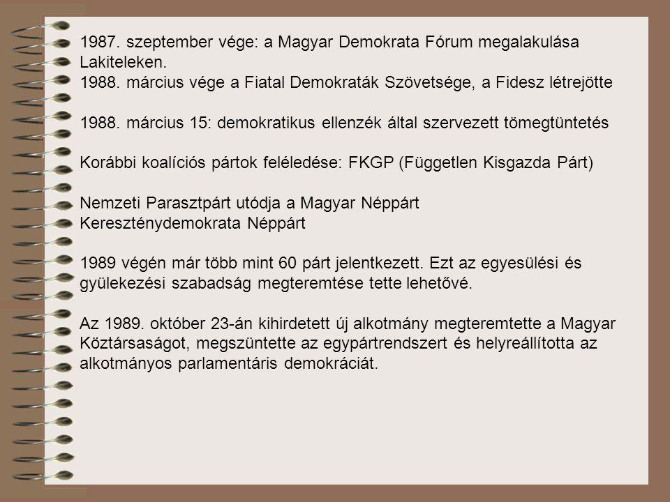 1987. szeptember vége: a Magyar Demokrata Fórum megalakulása Lakiteleken.