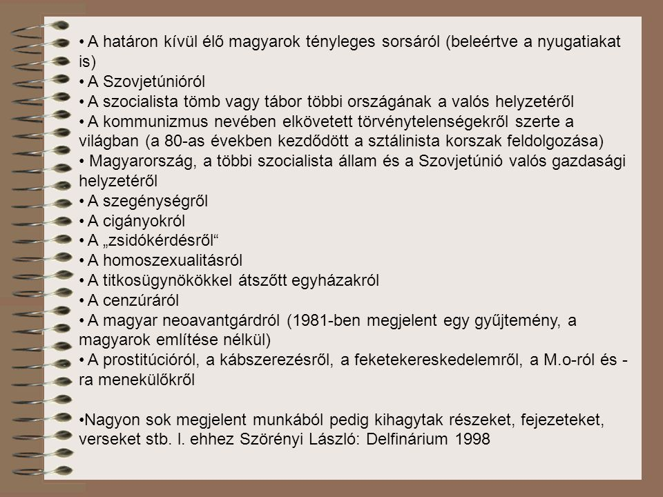 A határon kívül élő magyarok tényleges sorsáról (beleértve a nyugatiakat is)