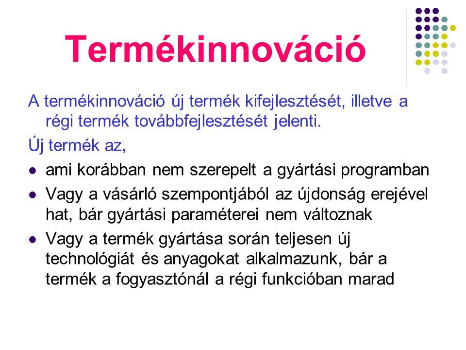 Termékinnováció A termékinnováció új termék kifejlesztését, illetve a régi termék továbbfejlesztését jelenti.
