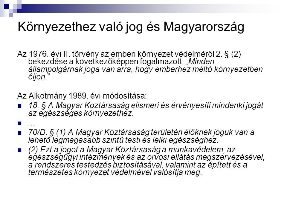 Környezethez való jog és Magyarország