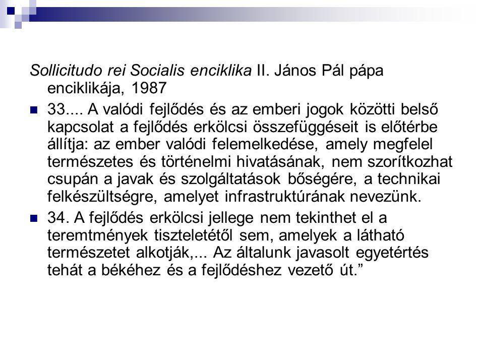 Sollicitudo rei Socialis enciklika II. János Pál pápa enciklikája, 1987