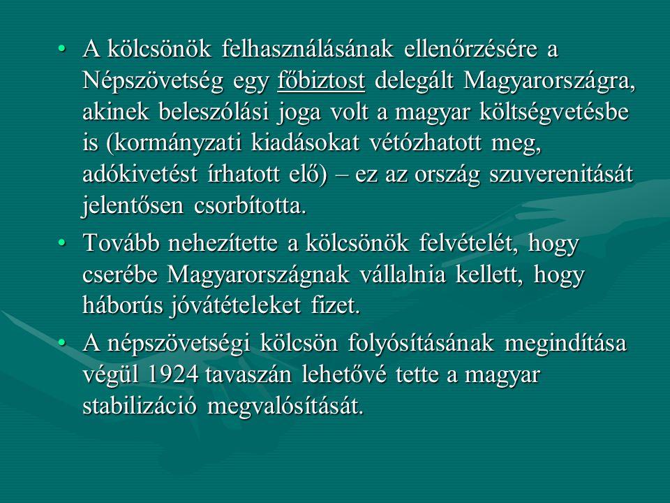 A kölcsönök felhasználásának ellenőrzésére a Népszövetség egy főbiztost delegált Magyarországra, akinek beleszólási joga volt a magyar költségvetésbe is (kormányzati kiadásokat vétózhatott meg, adókivetést írhatott elő) – ez az ország szuverenitását jelentősen csorbította.