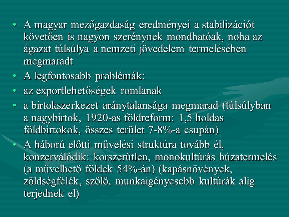 A magyar mezőgazdaság eredményei a stabilizációt követően is nagyon szerénynek mondhatóak, noha az ágazat túlsúlya a nemzeti jövedelem termelésében megmaradt