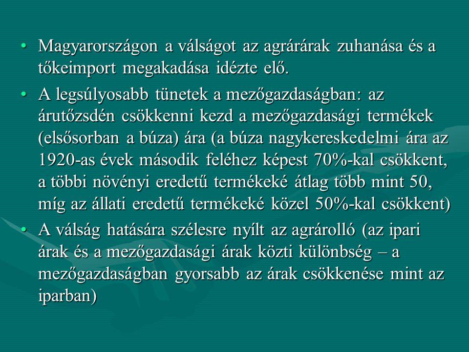 Magyarországon a válságot az agrárárak zuhanása és a tőkeimport megakadása idézte elő.