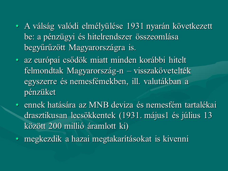 A válság valódi elmélyülése 1931 nyarán következett be: a pénzügyi és hitelrendszer összeomlása begyűrűzött Magyarországra is.