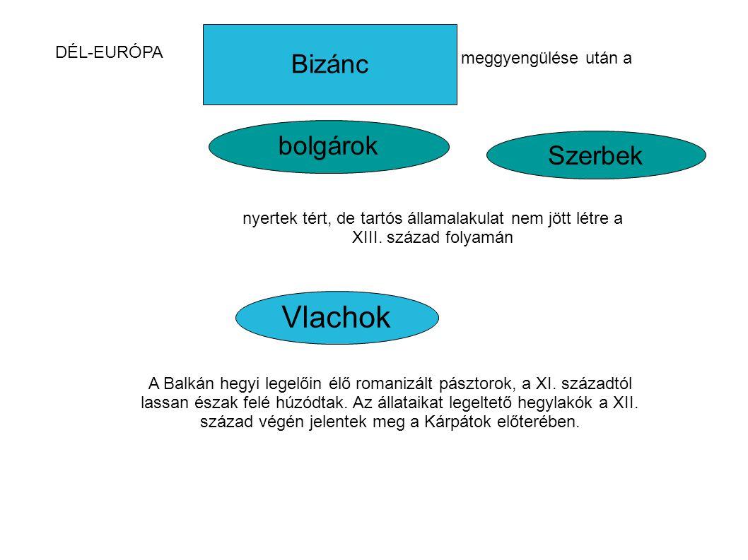 Vlachok Bizánc bolgárok Szerbek DÉL-EURÓPA meggyengülése után a