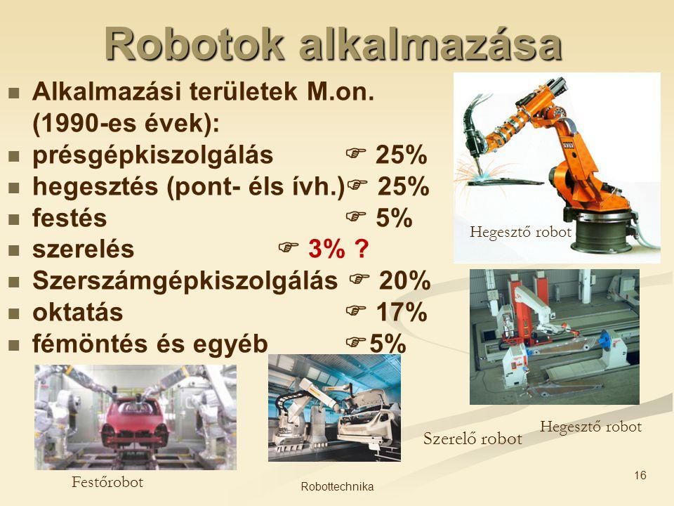 Robotok alkalmazása Alkalmazási területek M.on. (1990-es évek):