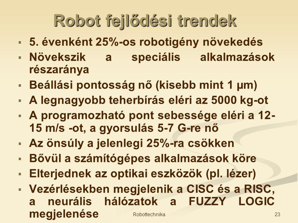 Robot fejlődési trendek