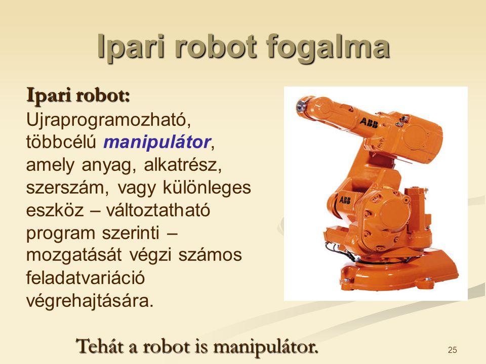 Ipari robot fogalma Ipari robot: Tehát a robot is manipulátor.