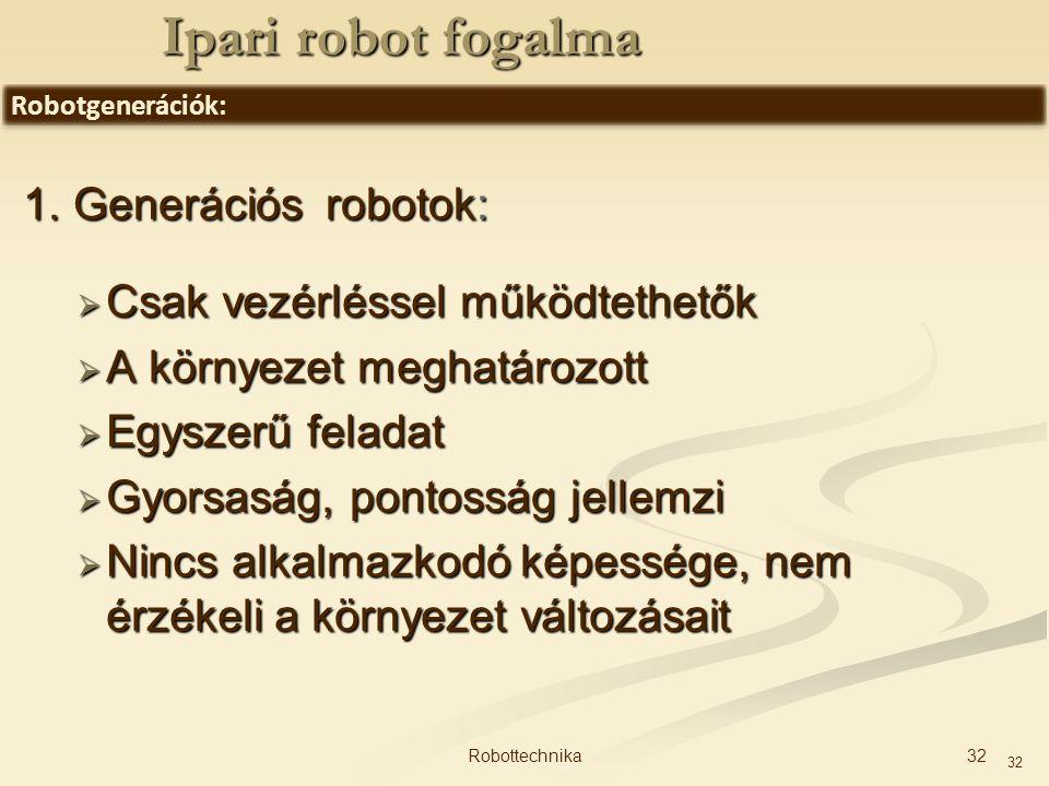 Ipari robot fogalma 1. Generációs robotok: