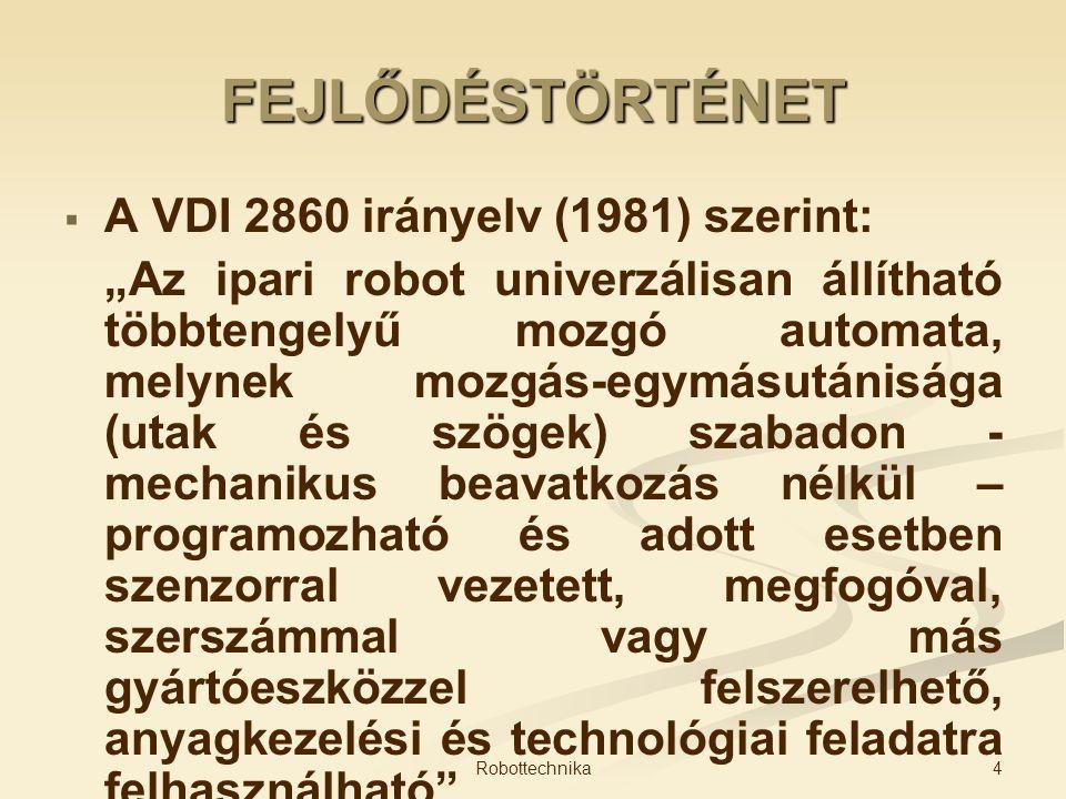 FEJLŐDÉSTÖRTÉNET A VDI 2860 irányelv (1981) szerint: