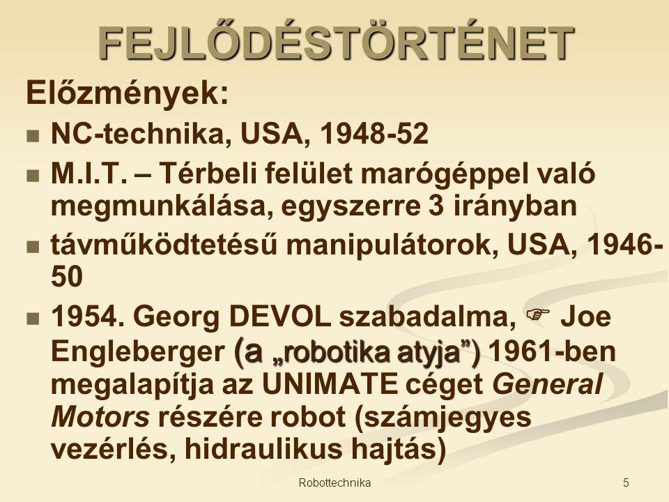 FEJLŐDÉSTÖRTÉNET Előzmények: NC-technika, USA, 1948-52