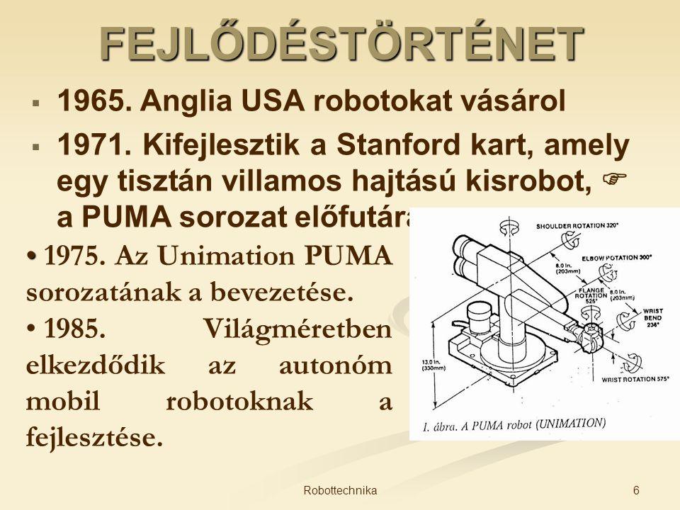 FEJLŐDÉSTÖRTÉNET 1965. Anglia USA robotokat vásárol