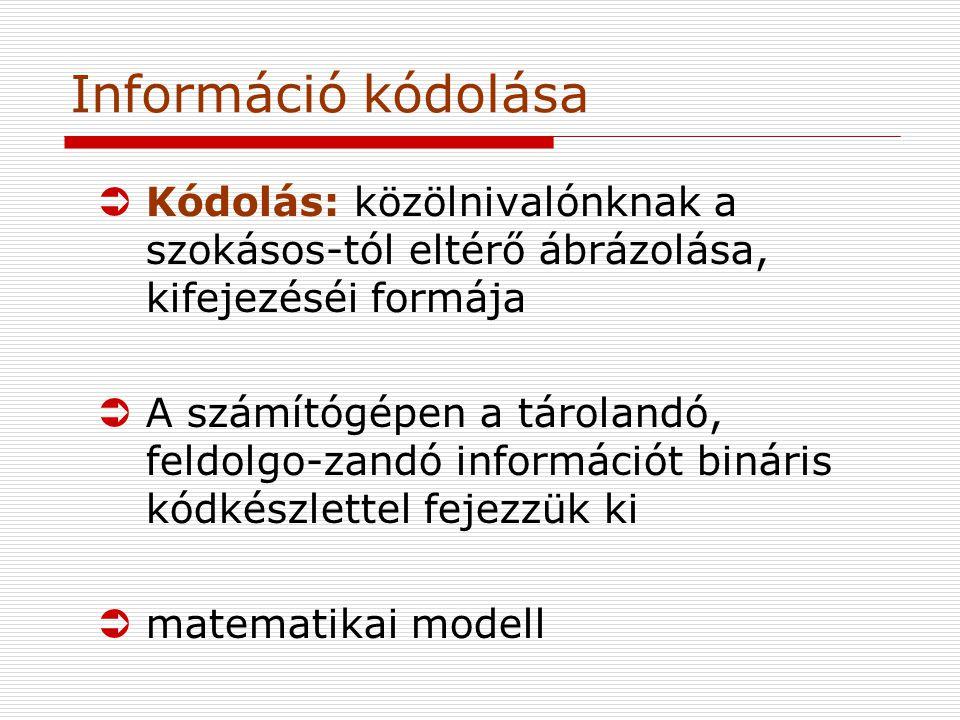 Információ kódolása Kódolás: közölnivalónknak a szokásos-tól eltérő ábrázolása, kifejezéséi formája.