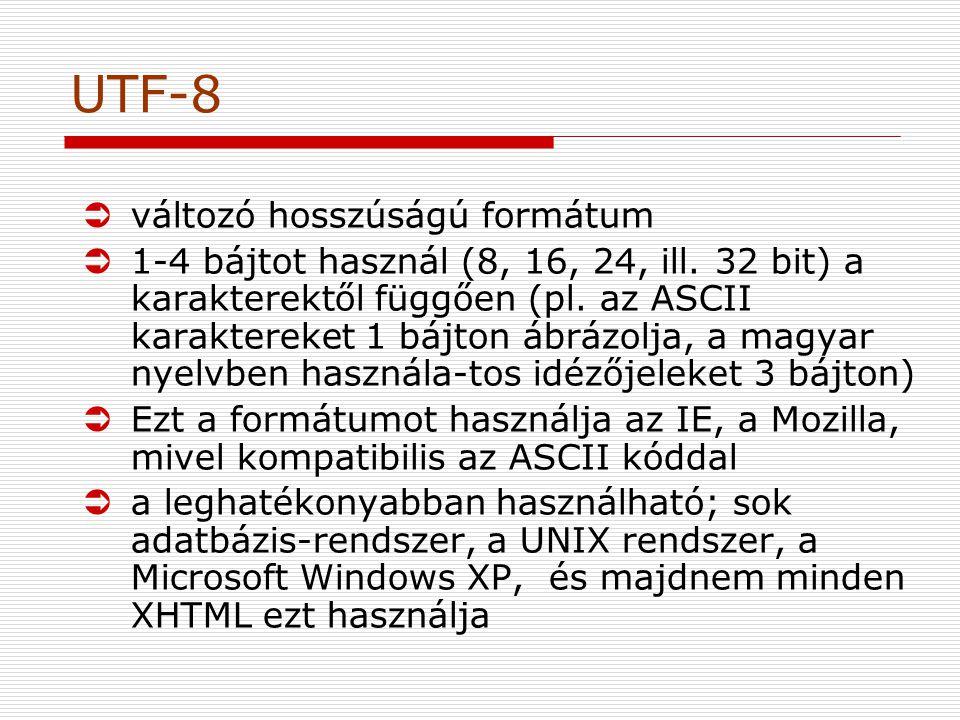 UTF-8 változó hosszúságú formátum